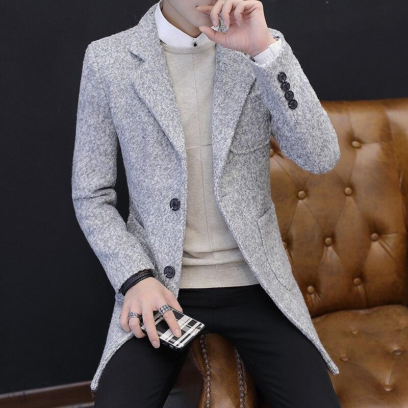 2019 зимняя новая мужская модная эксклюзивная одежда повседневное деловое длинное шерстяное пальто/мужские s пальто серые мужские повседневные куртки