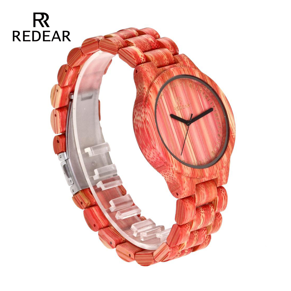 REDEAR Lover's Watches Red Bamboo Wood Watch Bamboo Band för Quartz - Damklockor - Foto 3