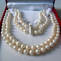 "DYY 915 +++ 2 Rows 6~7MM WHITE AKOYA SALTWATER PEARL NECKLACE 17-18"" beads jewelry making Natural Stone"