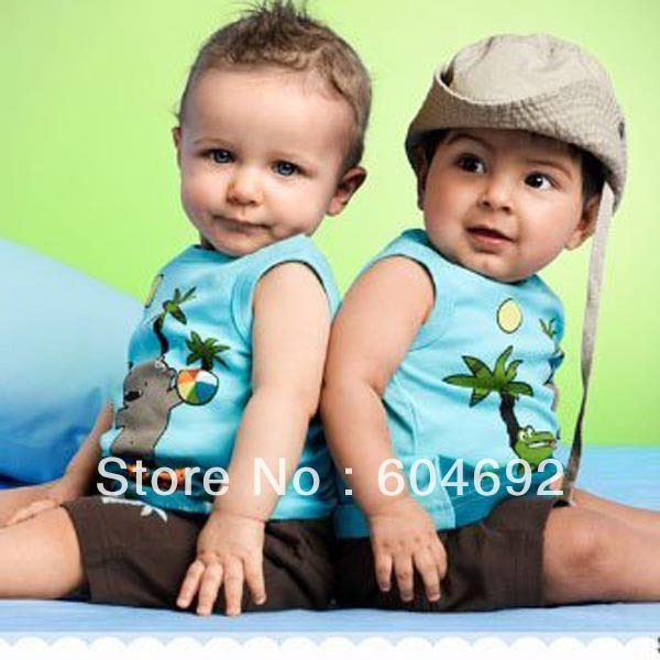 0-3Y Summer Lovely Baby Boy Cotton Sleeveless Top T-shirt+Short Pants 2 Pcs Set