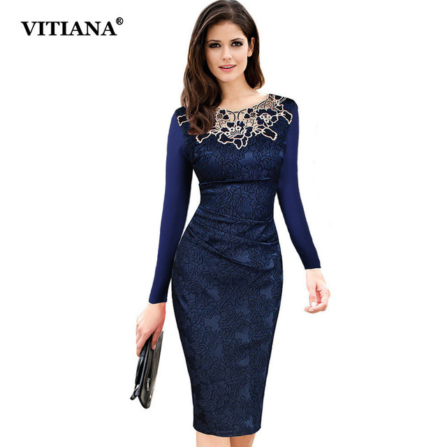 Women Formal Dresses Long Sleeve O-Neck Elegant Office Work Pencil Dress  Female Red Blue Vintage Embroidery Lace Sexy Clothing 1e2ef9b44247