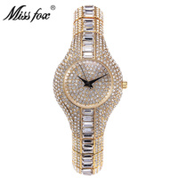 Miss Fox Luxury Women Watch High Quality Pure Rhinestone Crystal Small Face Ladies Bling Watches Women Luxury Brands Wrist Watch