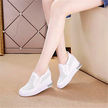 2019 new wedge with hollow breathable mesh to increase low help womens shoes