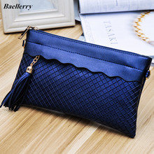 Baellerry 2017 New Fashion Plaid Tassel Women Handbag Envelope Clutch CrossBody Bags Ladies Evening Clutch Purse Hand Bags