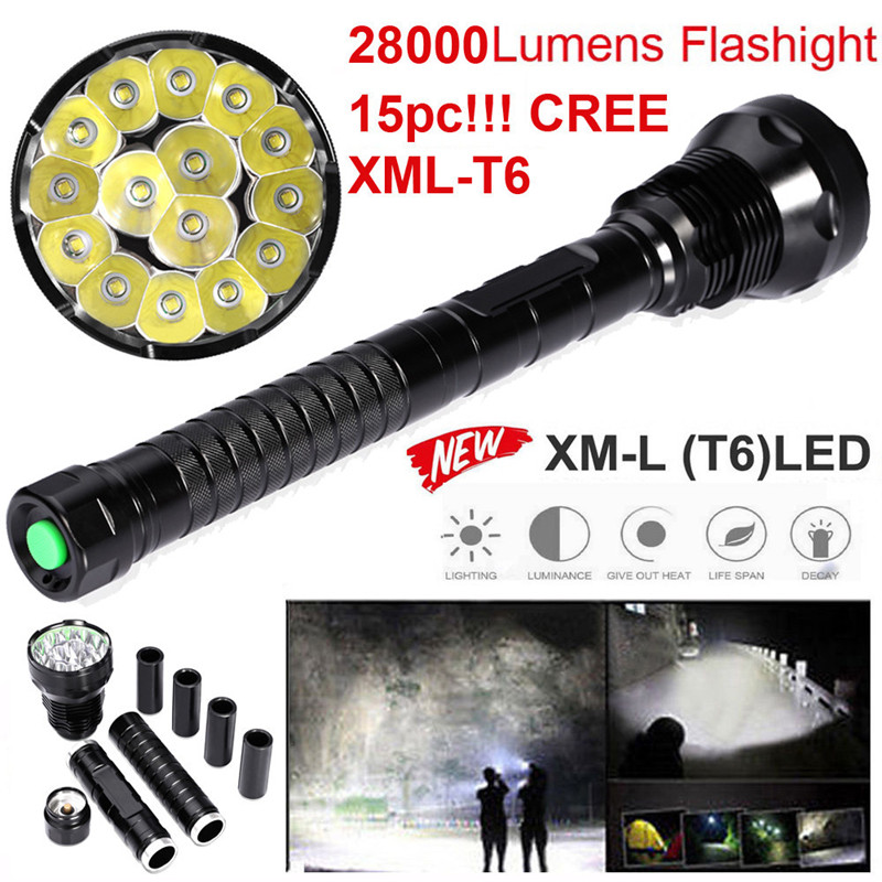 28000LM 15 x T6 LED Flashlight 5 Modes 26650/18650 Camping Lamp Light Bike Accessories Cycling Bike Bicycle Front Head Torch M12 ultrafire c10 800lm 5 mode white crown head flashlight grey 1 x 18650 26650