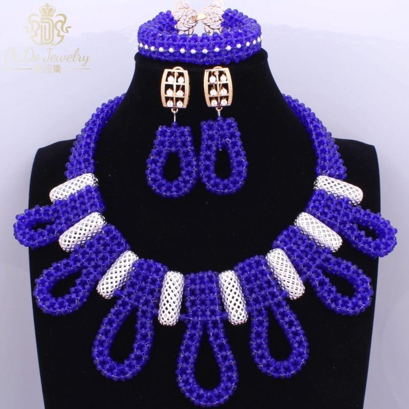 Fashionable Royal Blue African Nigerian Beads Jewelry Set New Big