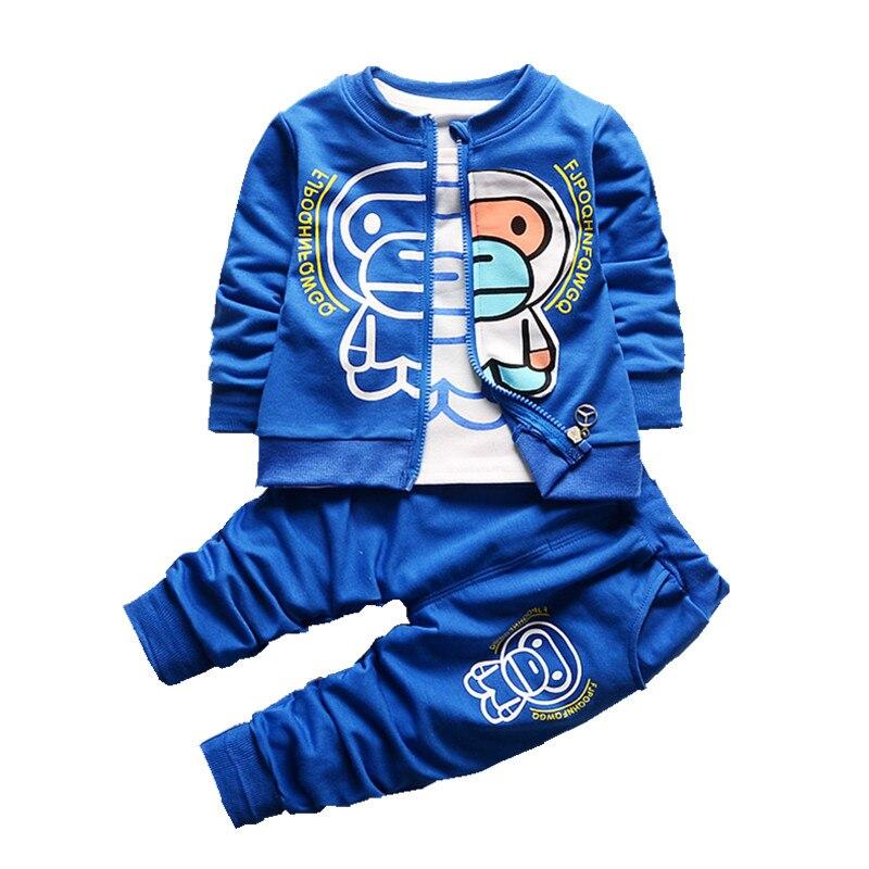 Baby s Clothing Set Zipper Sweatshirts T shirt Pants 9 to 24M Cotton Spring Autumn Boys
