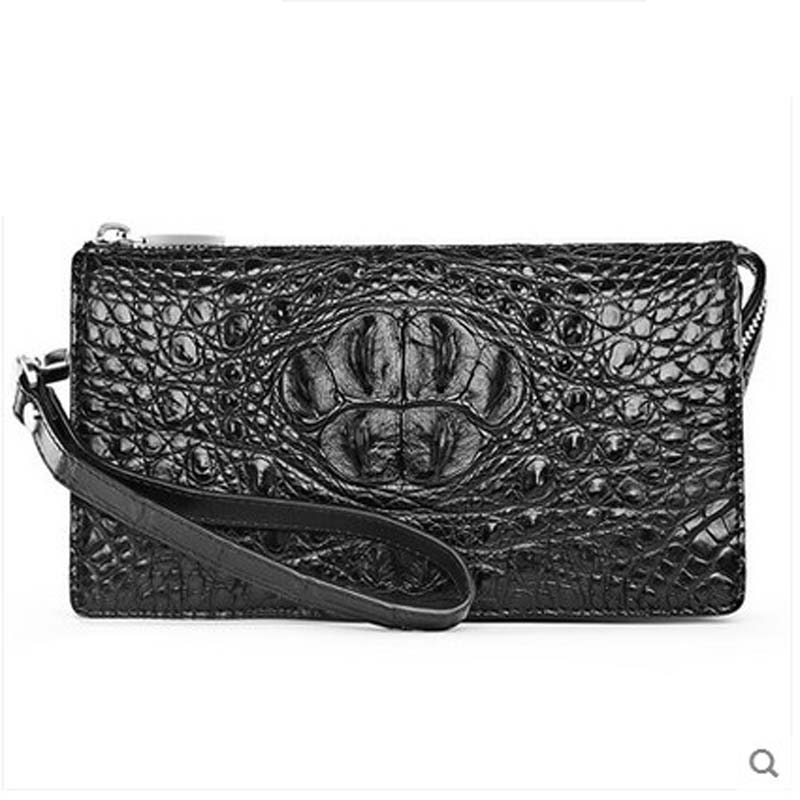 2018 hlt Authentic Thai crocodile wallet men's leather long leather zipper with bags and bags of men's clutch bags