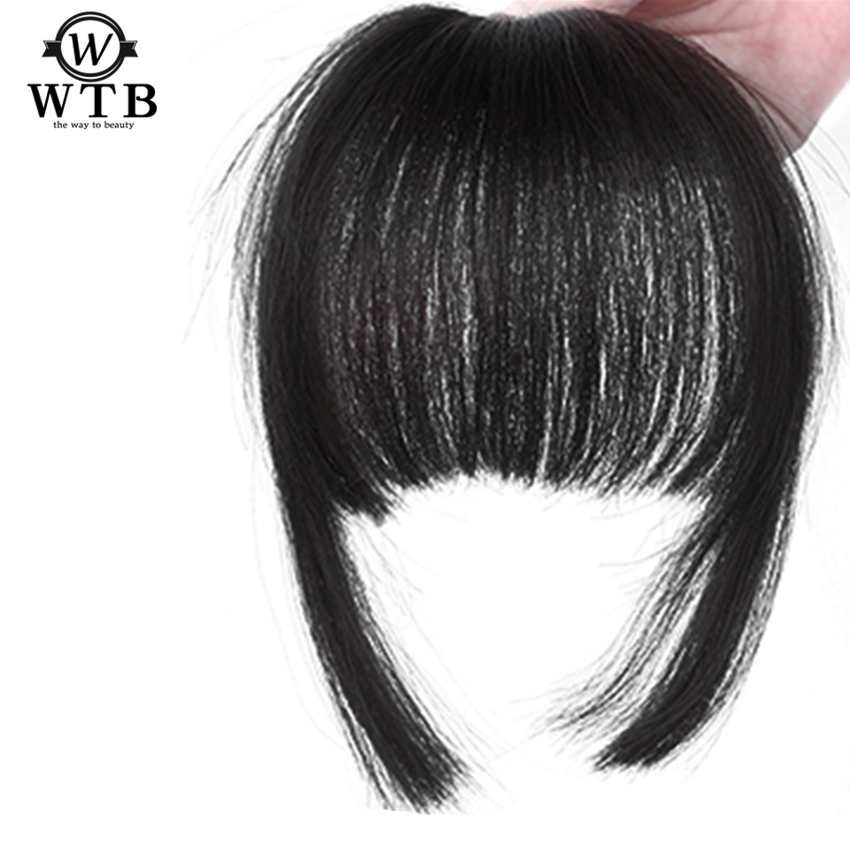 WTB Neat Front Clip In Hair Bang Extensions Short Straight Synthetic Hair False Fringe Hairpieces