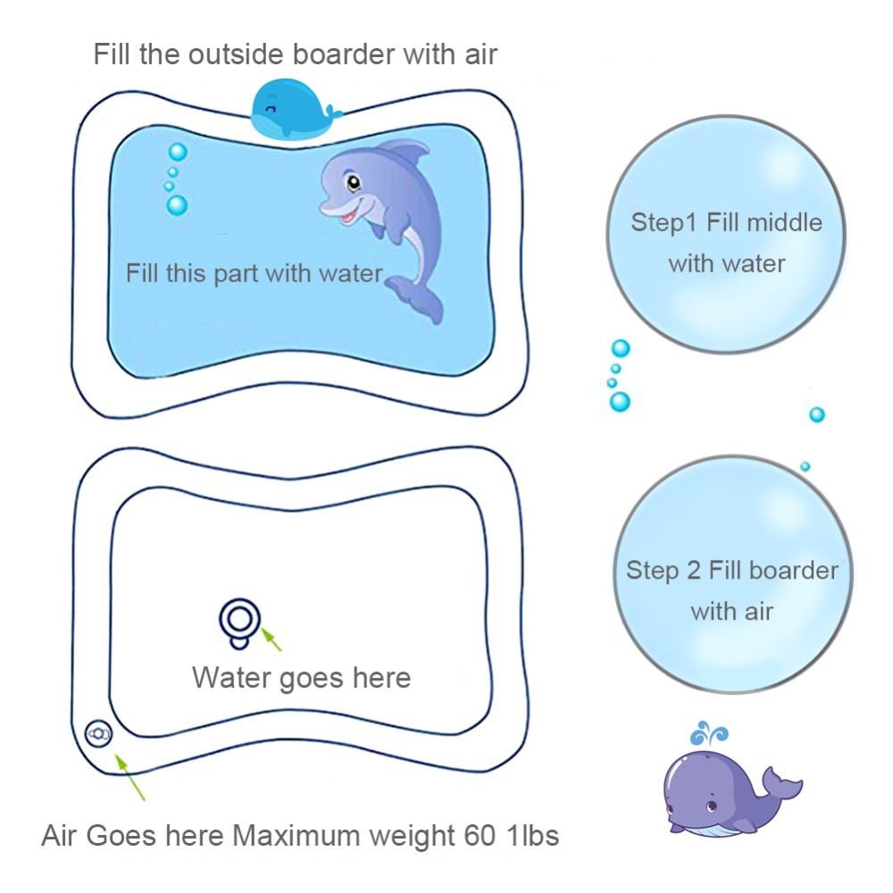 HTB1ws09X1L2gK0jSZPhq6yhvXXaV Hot! 18 Designs Baby Kids Water Play Mat Inflatable Infant Tummy Time Playmat Toddler for Baby Fun Activity Play Center Dropship