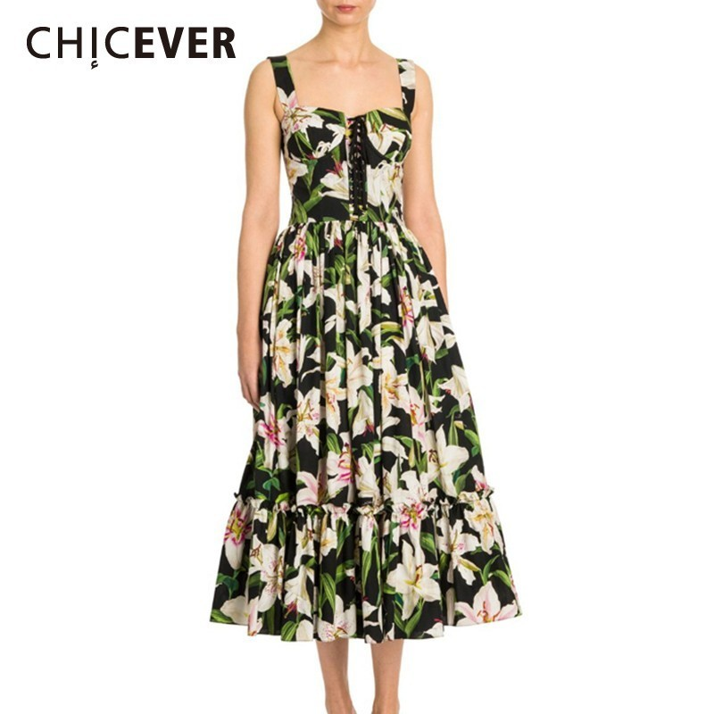 CHICEVER Summer Bohemian Style Print For Women Dress Square Collar Spaghetti Strap Button Pleated Hem Mid