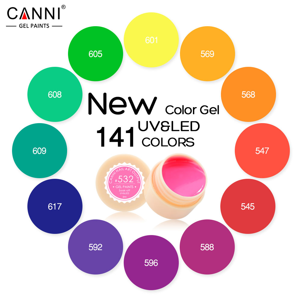 #50618  CANNI Nail  Art  141 Color Soak Off UV/LED Color Gel Long Lasting  CANNI Color Gel Lacquers CANNI Hot Sale Gel Painting