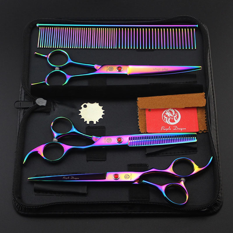 7inch Rainbow Straight&Curved&Thinning Scissors Set with Case Comb Professional Pet Groomer Dog Cat Hair Clipper Shear Tool cricket limited edition roc it dog shimmering night duo 5 shear & thinning shear with custom centrix shear case