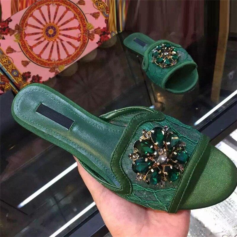 2017 New Summer Slipper Sandals font b Women b font Shinny Crystal Flowers Flip Flops Flats