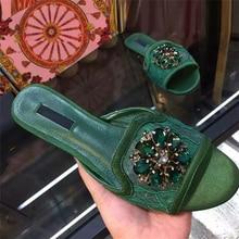 2017 New Summer Slipper Sandals Women Shinny Crystal Flowers Flip Flops Flats Shoe Open Toe Print Embroidery Flip Flop