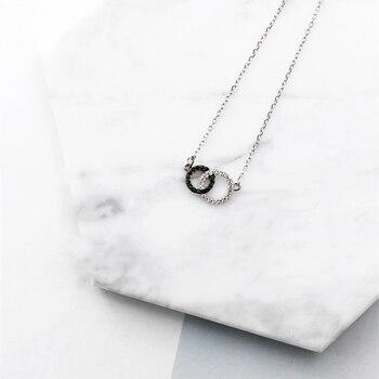 Simple Double Circle Rhinestone Korean 925 Sterling Silver Temperament Personality Fashion Female Jewelry Necklace SNE016 цена 2017
