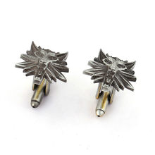 HSIC Punk Gothic Style The Witcher 3 Cufflinks For Men's Shirt Brand Cuff Buttons Luxury Vintage Wolf Heads Cuff Links Jewelry(China)
