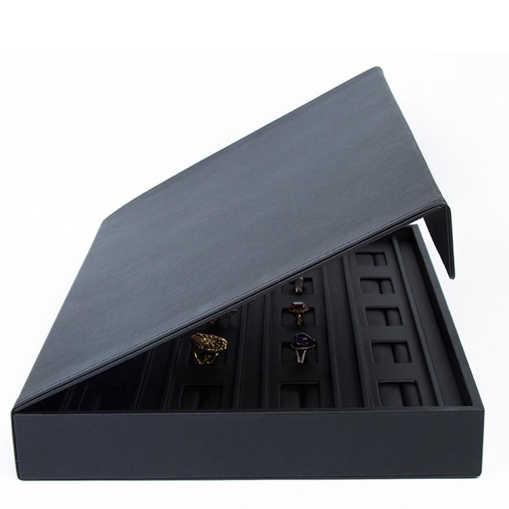 PU skóra gablota jubilerska pudełko do przechowywania taca pierścień wizytówką organizator Holder 34x25x4.5 cm w Pakowanie i ekspozycja biżuterii od Biżuteria i akcesoria na  Grupa 3