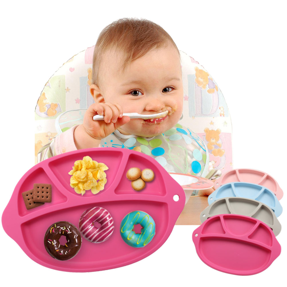 Baby Food Container Plate Silicone Children Placemat Dishes Anti-Slip Kids Feeding Plates Dishes Bowl Tableware Set FJ88