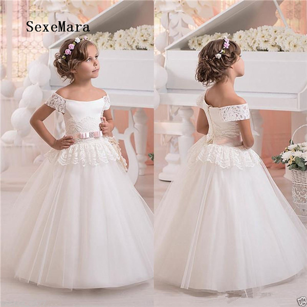 Ivory White Off Shoulder New Flower Girl Dresses Lace Puffy Tulle Kids Birthday Gowns Pageant Gown Princess Christmas Dress new princess white ivory one shoulder lace flower girl dresses wedding birthday parties ball gowns
