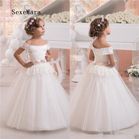 Ivory White Off Shoulder New Flower Girl Dresses Lace Puffy Tulle Kids Birthday Gowns Pageant Gown Princess Christmas Dress