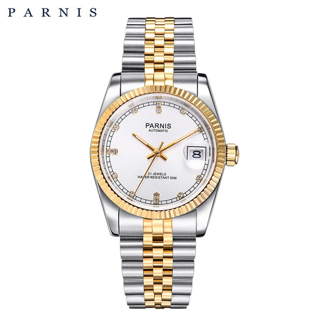パーニス男性 2018 ラグジュアリーブランドゴールド自動腕時計メンズレディースエレガントダイヤモンドステンレスブレスレット腕時計 PA2112