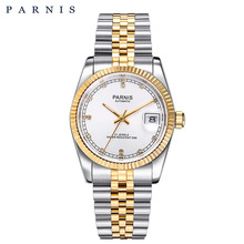 Parnis 남자 시계 2018 럭셔리 브랜드 골드 자동 시계 남자 여자 우아한 다이아몬드 스테인레스 팔찌 시계 pa2112