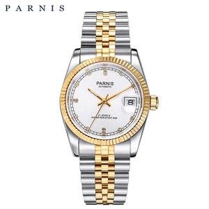 Image 3 - Parnis reloj mecánico automático para hombre y mujer, pulsera de acero inoxidable con diamantes, elegante, dorado, 2019