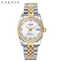 Parnis, reloj para hombre, 2018, marca de lujo, dorado, automático, reloj para hombre y mujer, elegante pulsera de diamante inoxidable, relojes PA2112