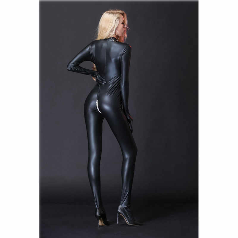 Latex Catsuit หนัง Faux ผู้หญิง Jumpsuits สีดำ wetlook PVC เซ็กซี่ Bodycon ชุดชั้นในเร้าอารมณ์เปิด Crotch เครื่องแต่งกาย clubwear