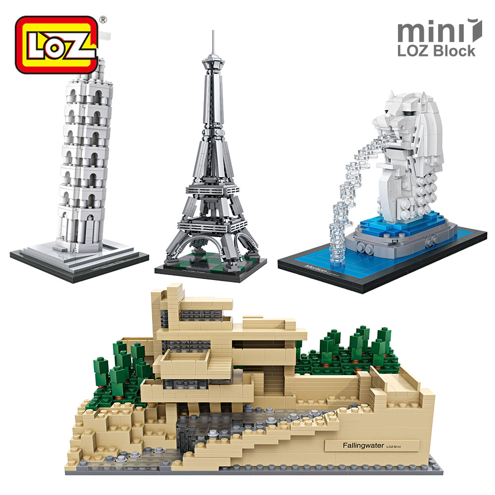 LOZ Mini Blocks City City Street Mini Series Architecture Bricks House Model Building toys Diy Great Architectures Assembly Toys loz street view architecture building brick 303pcs