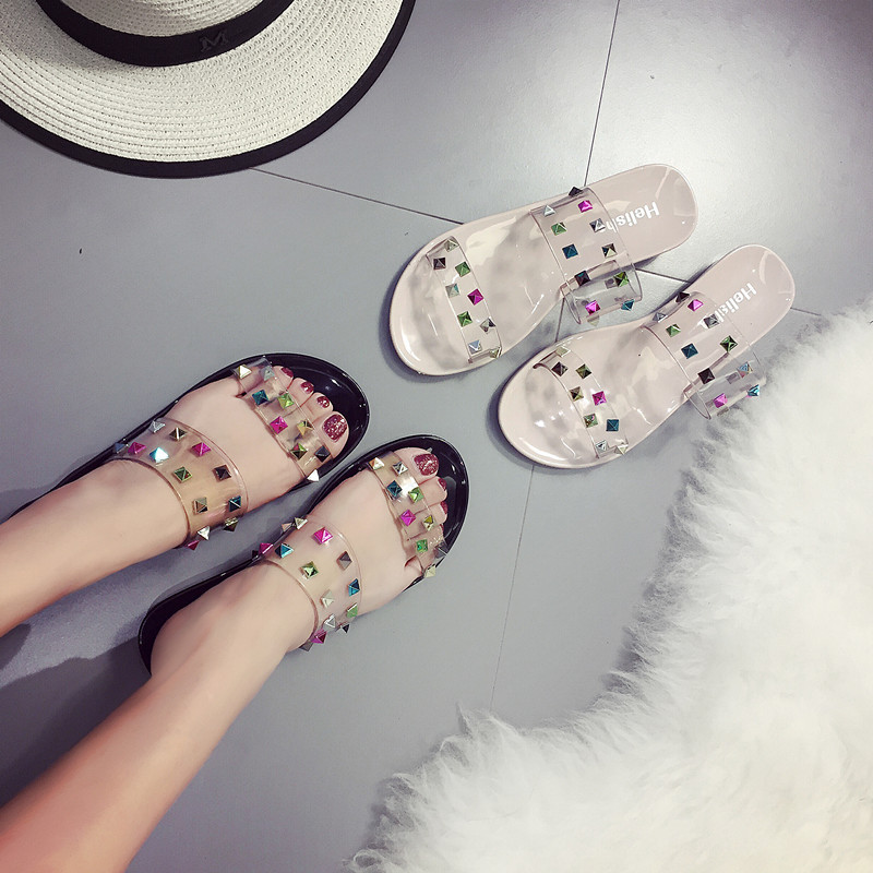 2018 Women Jelly Shoes Flip Flops Sandals With The Water Table In The Spring Of The New Slippers
