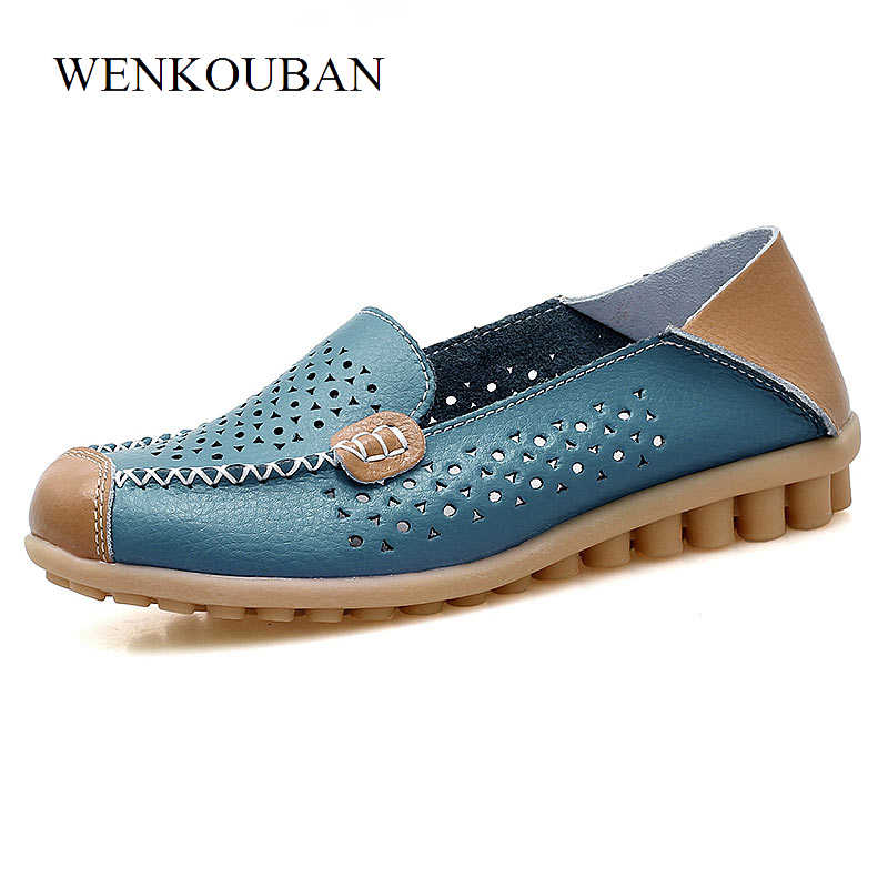 5444fa9d8332 ... Women Ballet Flats Genuine Leather Loafers Square Toe Moccasins Femme  Slip On Shallow Casual Shoes Chaussures