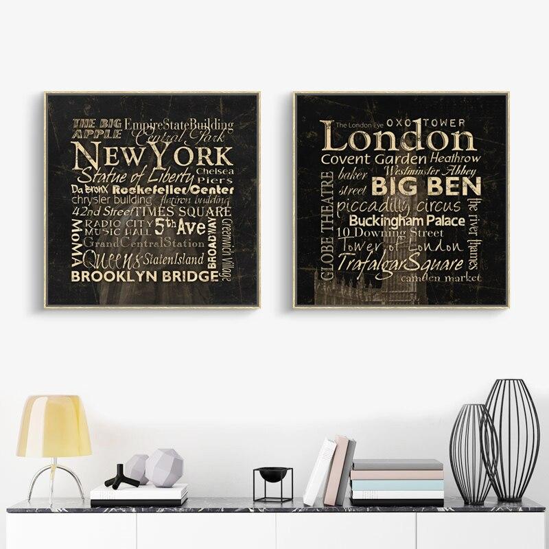 London New York Schreiben Leinwand Malerei Zitieren Öl Malen Home ...