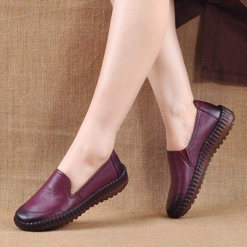 Nuevos amarillo Cuero Zapato púrpura Trabajo negro A Genuino Casual Mano De Mujeres 2018 Zapatos Beige Retro Mocasines Pisos Cómodo Conducción Hechos Plano r4q6r1