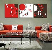 Sıcak Dünya Duvar Ev Zanaat El Dekoratif Tablolar 3 Parça soyut Tuval Sanat Siyah Ve Kırmızı Soyut Tuval Üzerine Yağlı Boya