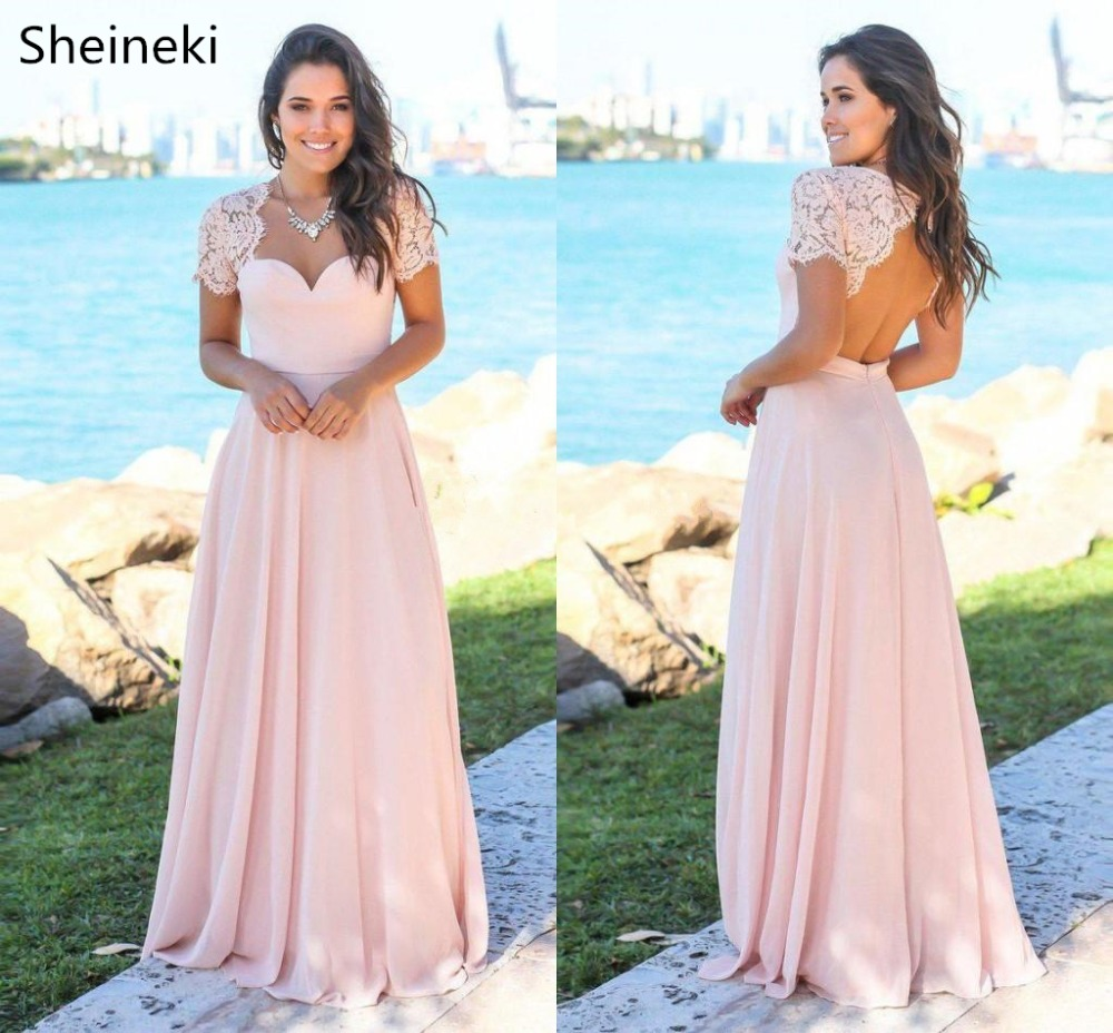Blush Pink Country Bridesmaid Dresses Sweetheart Backless Lace Chiffon Beach Garden Wedding Guest Gowns Maid Of Honor Dresses