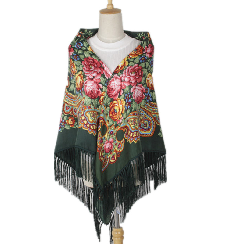 Fashion Women Printing Russia Style National Designs With Four Sides Tassel Large Squar Shawl   Scarf   Oversize   Wrap   135CM*135CM
