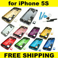 New Complete Full Set Back Housing Battery Door Cover Middle Frame Assembly For iPhone 5S Replacment + Repair Tool Kit