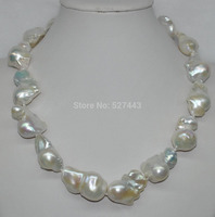 Wholesale GORGEOUS Natural Rainbow Blue white Baroque nucleated pearl necklace AAA