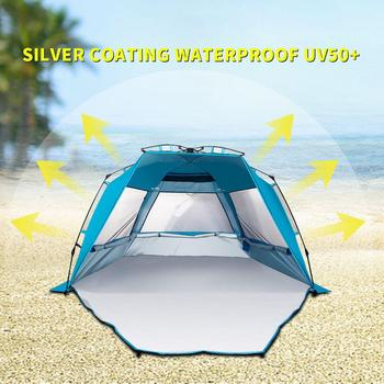 3-4 Person Outdoor Camping Beach Tents UV Sun Shelter Windproof Waterproof Breathable Portable Tent For Hiking Beach Travel