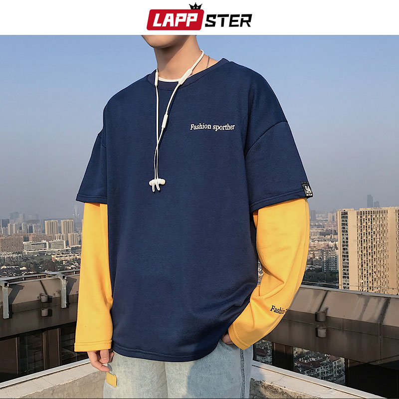 LAPPSTER Men Patchwrok Harajuku Hoodies 2020 Spring Man Hip Hop Fake Two Pieces Sweatshirts Male Japanese Streetwear Blue Hoodie