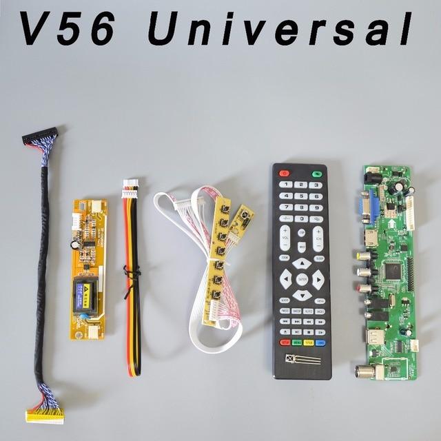 V56 Universel LCD TV Contrôleur Pilote Conseil PC/VGA/HDMI/USB Interface + 7 + clavier 2 lampe onduleur