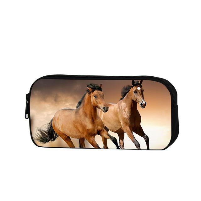 Casos Cosméticos Caja de Lápiz Del caballo para Los Niños de La Escuela para Adultos Moda Lápiz Bolsa Animal Impreso Cremallera Lápiz Establecido para la oficina