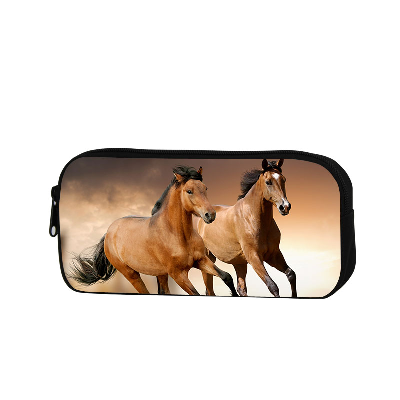Horse Pencil Case for Children School Cosmetic Cases for Adults Fashion Pen Bag Animal Printed Zippered Pencil Set for office