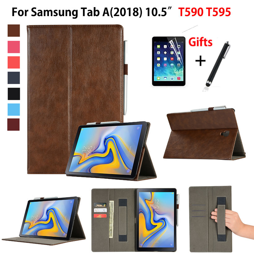 Premium Case For Samsung Galaxy Tab A A2 2018 10.5 inch T590 T595 T597 SM-T595 Smart Cover Funda Tablet Coque Shell +Film+Stylus e reader case for onyx boox i63ml maxwell case cover coque shell funda hulle custodie