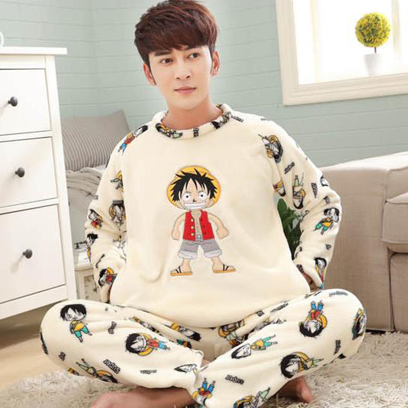 Men Coral Fleece Sleepwear 2019 New Winter Male Pajama Sets Long-sleeve Fashion Youth Thick Lounge Set Plus Size 3XL 4XL