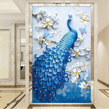 5D DIY Diamond painting Animal,Peacock, blue diamond full peacock flower Painting Cross Stitch Mosaic