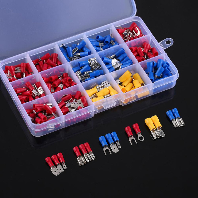 280pcs Assorted Crimp Spade Terminal Insulated Electrical Wire Cable Connector Kit Set ALI88 1200 pcs mixed assorted lug kit insulated electrical wire connector crimp terminal spade ring set clh