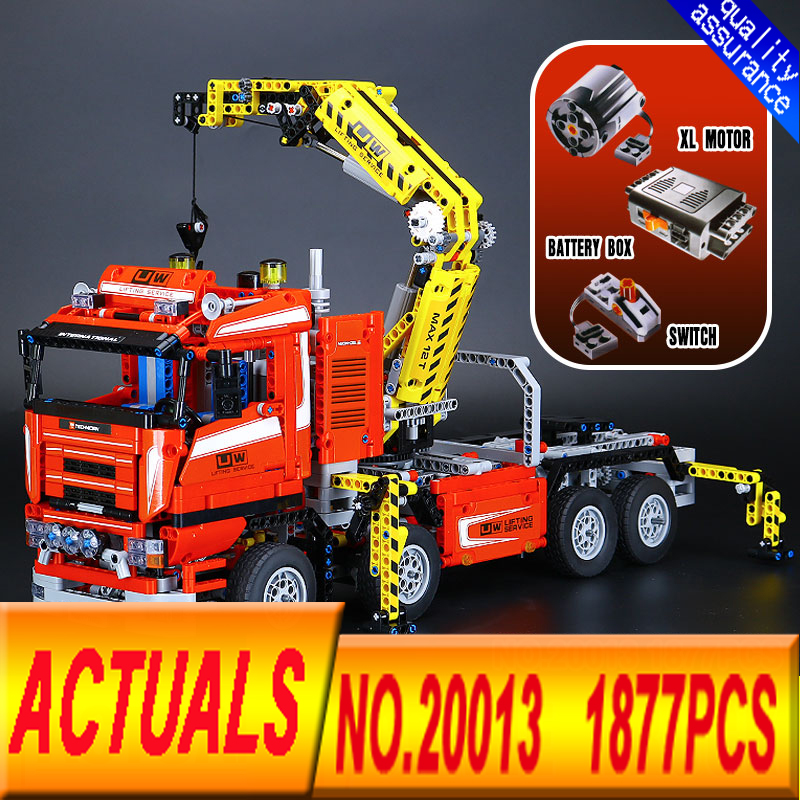 NEW LEPIN 20013 1877pcs technic series The Electric Crane Truck Model Building blocks Bricks Compatible legoed 8258 lepin 22001 pirate ship imperial warships model building block briks toys gift 1717pcs compatible legoed 10210
